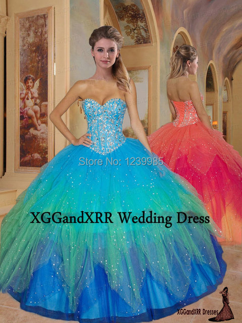 83865eb6da5 Quinceanera Gowns 2017 Sweet 16 Sexy Puffy Rainbow Ball Gown Quinceanera  Dresses for 15 Years Girls Prom Party Gowns EQ003