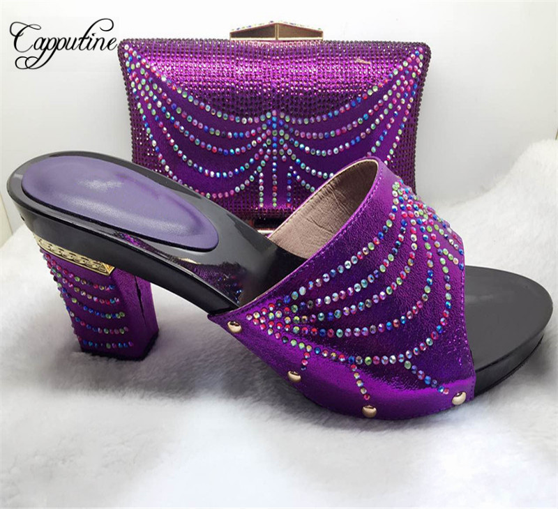 Capputine Nigeria Style Pumps Shoes And Bag Set For Party Fashion Rhinestone High Heels Shoes And Bag Set Free Shipping 7Colors siketu 2017 free shipping spring and autumn women shoes fashion sex high heels shoes red wedding shoes pumps g107
