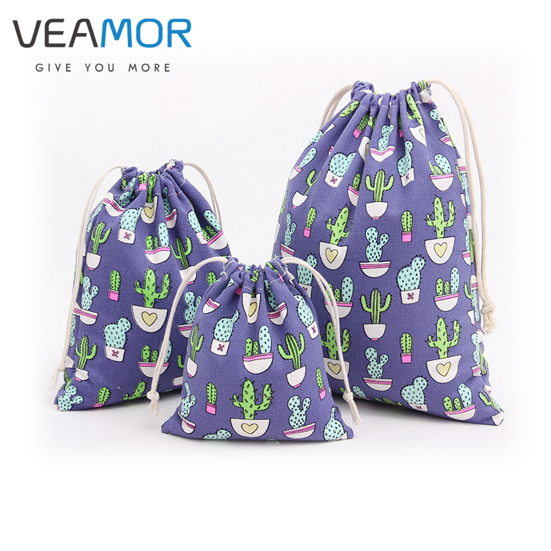 VEAMOR 3PCS/SET Canvas Candy Gift Bags for Children Cactus Beam Port Drawstring Bags Small <font><b>Jewelry</b></font> Gift Storage Bags WB142