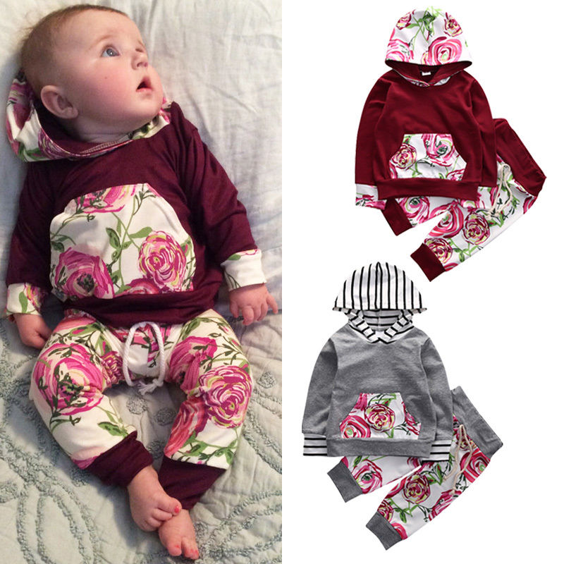 2016 Cute Floral Baby Girl Clothes Autumn Infant Bebes Hooded Sweatshirt Top+ Pant 2pcs Outfit Bebek Giyim Clothing Set 2017 newborn baby boy girl clothes floral infant bebes romper bodysuit and bloomers bottom 2pcs outfit bebek giyim clothing