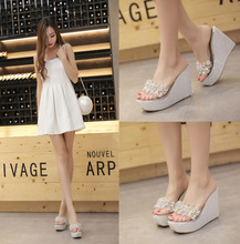2016 Summer Explosion Models Rhinestone Sequins Clear Bottom Muffin Slope with High-heeled Peep Toe Sandals Women Slippers