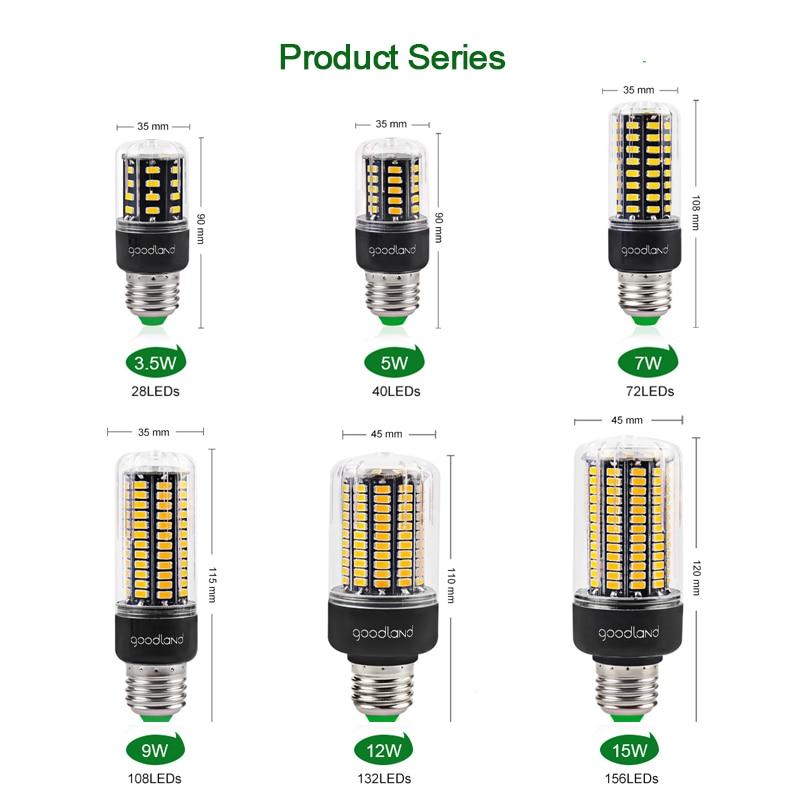 Image 4 - Goodland E27 LED Lamp E14 LED Light 220V 110V LED Bulb 3.5W 5W 7W 9W 12W 15W 20W LEDs Corn Light SMD 5736 No Flicker Lights-in LED Bulbs & Tubes from Lights & Lighting