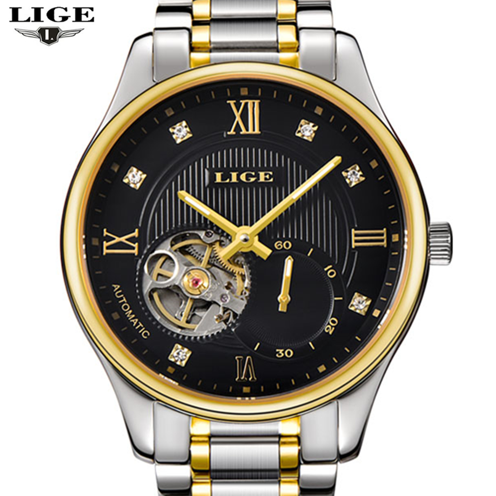 Mens watches Automatic mechanical watch tourbillon clock Steel Casual business wristwatch relojes hombre top luxury LIGE brand цена и фото