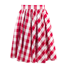 CandowLook, Женская Ретро Юбка, 50s 60 s, красная, белая клетчатая юбка, для девочек, хлопок, элегантная, до колена, Saia Faldas