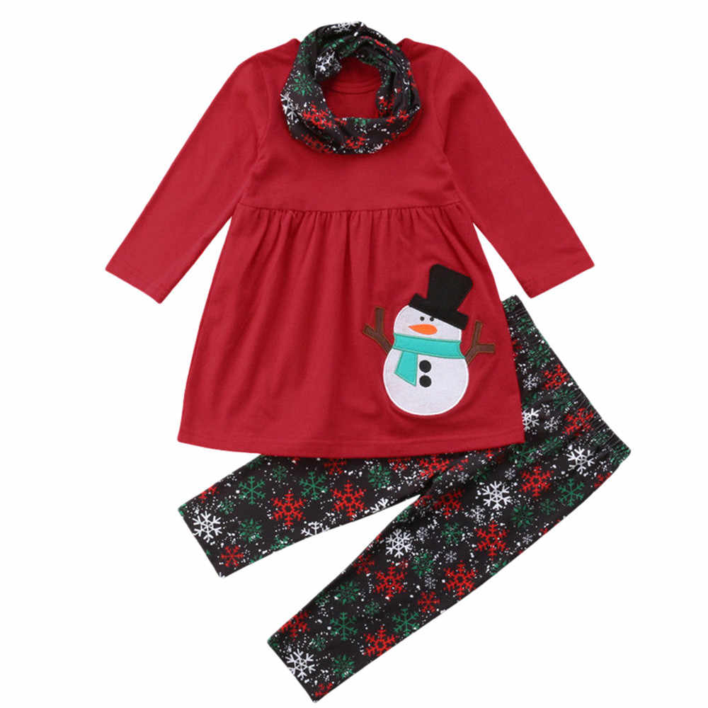 Toddler Kids Baby Girls Long Sleeve Snowman Print Tops Pants Christmas Outfits