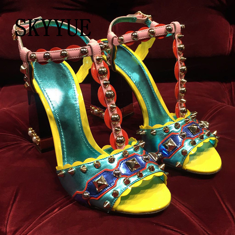 2018 New Genuine Leather Crystal Beading Studded HIgh Heel Sandals Sexy Open Toe Thick Heel Women Summer Sandals Shoes Women genuine leather women sandals rural sweet style women shoes butterfly beading crystal wedges shoes high heel sandals dress shoes