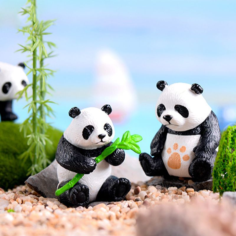 Figurines Miniatures Resin Pandas Garden Plant Flower Pot Bonsai Dollhouse Decoration Home Decoration Accessories in Figurines Miniatures from Home Garden