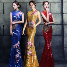 NEW Cheongsam Gold Slim Chinese Traditional Dress Women Qipao for Wedding Party embroide Red Female Long