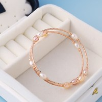 2019 New Arrival Japanese and Korean Version 6 7mm Mixed Color Rice Shape Freshwater Pearl Women's Bracelet, C027