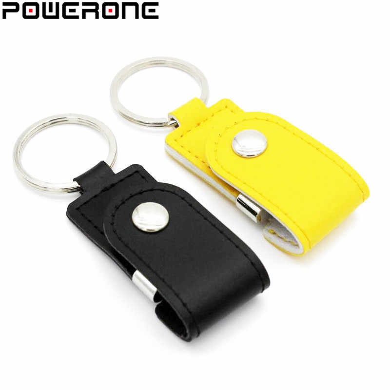 POWERONE Hot vender chaveiro de couro de metal pendrive usb flash drive GB 32 64 GB usn 8 GB USB 2.0 comercial flash drive Memory Stick