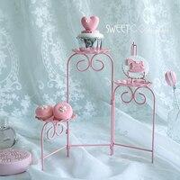 Розовый cookies лестница стенд сложить в состоянии кекс украшая инструменты Для свадебной вечеринки Десерт Таблица поставщик Baker дисплей