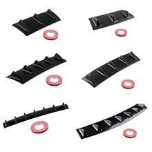 Hot 36.5*15.2/58.4*15.2cm Style Universal Rear Bumper Lip Diffuser 3-7 Fin Gloss Black ABS Car Shark