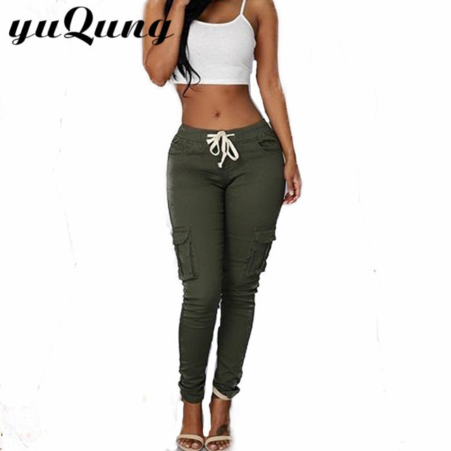 yuqung Women's Army green skinny long pants casual pocket female pencil pants Ladies drawstring Long Trousers for women red