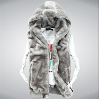 Xxxl New 2014 Fashion Winter Faux Mink Fur Leather Vest Men Women Couple Sleeveless Waistcoat Vest