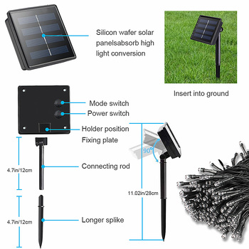 22m 200 LED Solar Lamp Outdoor Waterproof 8 Modes Garden Lights Solar Powered holiday Christmas Fairy String Light Street Lawn 4