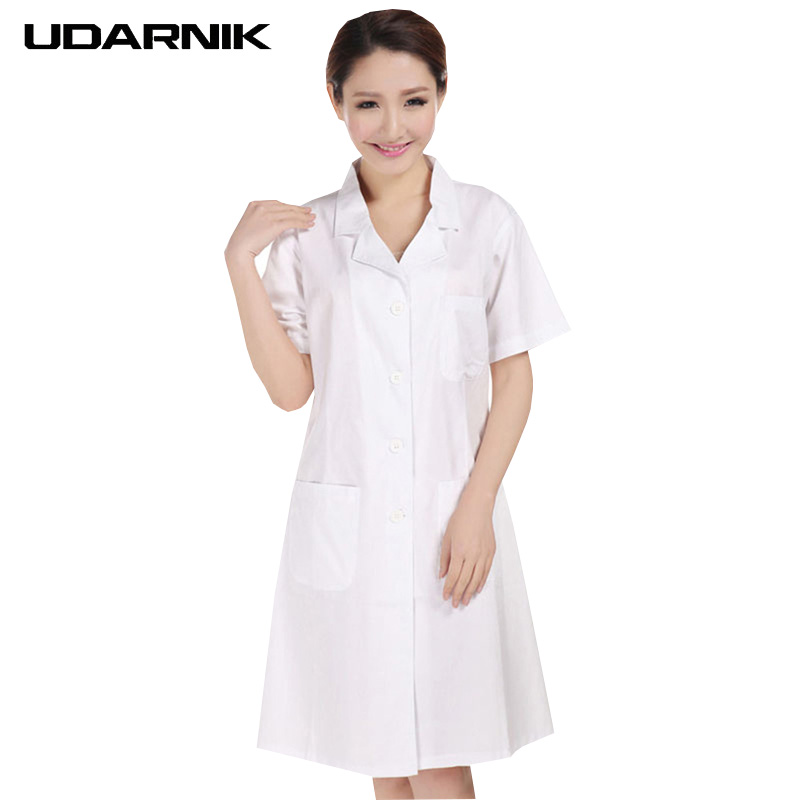 Lady White Short Sleeve Lab Coat Cotton Doctors Scientist Women Nurse Uniform Dress Costume Medical Clothing 903-227