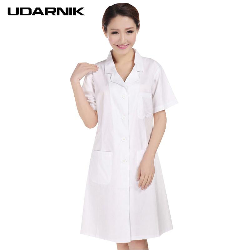 Lady balts īsu piedurkņu laboratorijas mētelis kokvilnas ārstes zinātnieces sievietes medmāsas formas tērpa kostīms medicīniskais apģērbs 903-227
