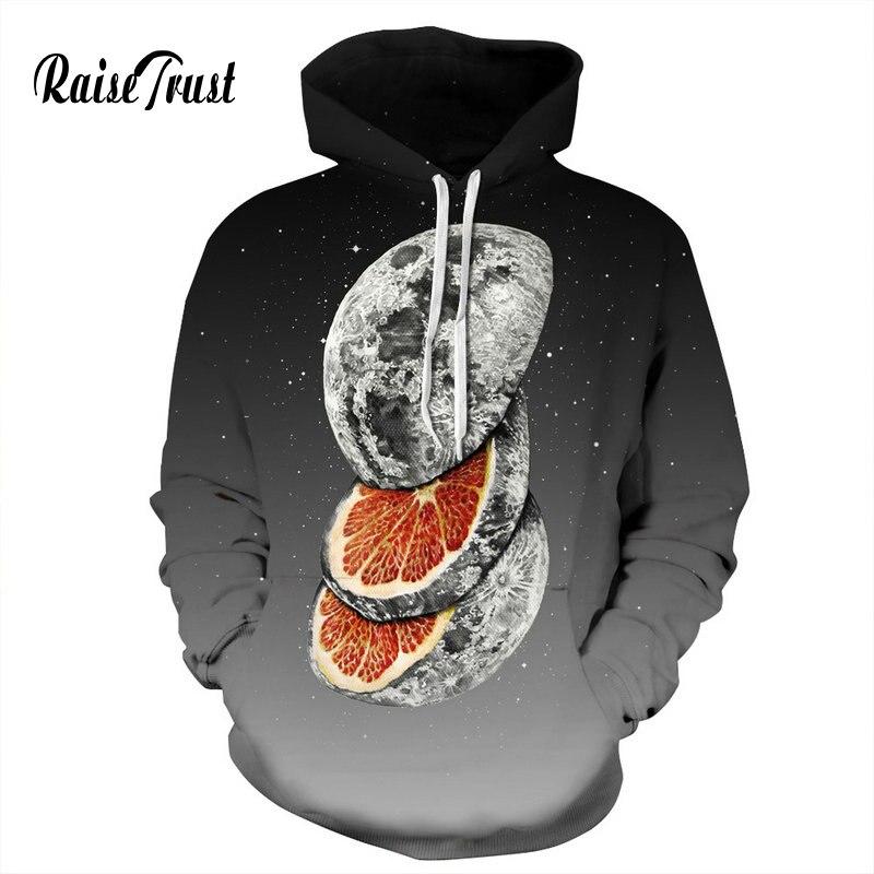 Горячая Распродажа свитеров для мужчин/женщин с забавным принтом Луны оранжевого цвета космическая Галактика 3d толстовки уличная одежда п