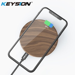 KEYSION 10W 7.5W 5W Qi Wireless Charger Wood fast Wireless Charging Pad for iPhone XS Max XR X 8 Plus for Samsung S9 S8 Mix 2S