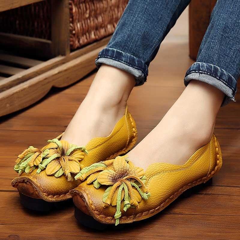 YGF Mocasines Planos Del Ballet de Los Zapatos Planos de Cuero Genuino de Las Mu