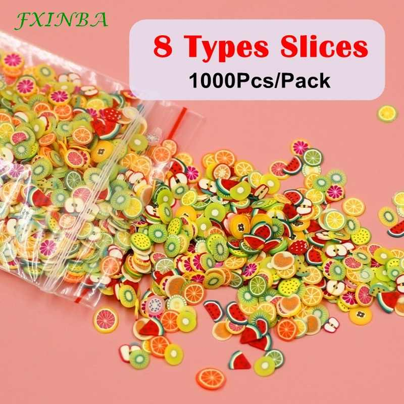 FXINBA New 1000Pcs/Pack Mini Fimo Fruit Slices For Slime Supplies/Nails Art Tips Polymer Clay Sprinkles Slimes Toys Lizun DIY