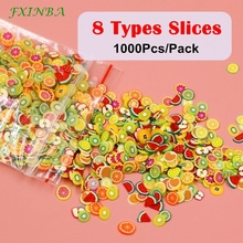 FXINBA New 1000Pcs/Pack Mini Fimo Fruit Slices For Slime Supplies/Nails Art Tips Polymer Clay Sprinkles Slimes Toys Lizun DIY fruit fimo slices polymer clay 1000pcs fimo fruit slices slime charms polymer clay fruit decoden fimo fruit slices nail art d
