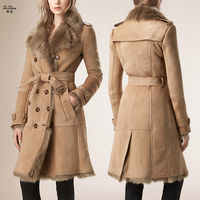 New Winter Women's Double faced Fur Real Lamb Fur Kid Suede Coats Long Jacket The Coat For Female With Belt 180427 7