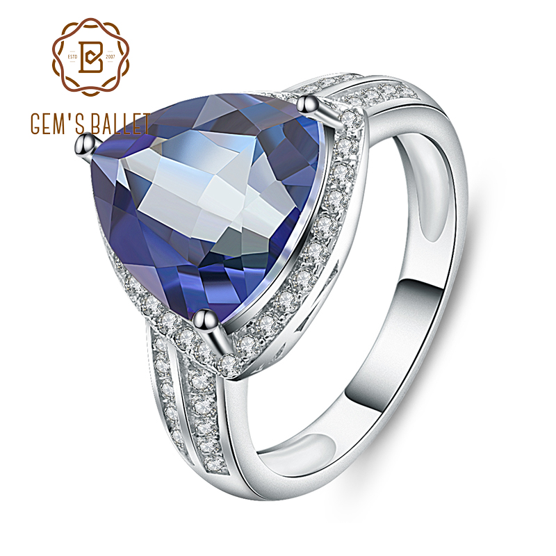 GEM'S BALLET 925 Sterling Silver Natural Iolite Blue Mystic Quartz Gemstone Rings Classic Engagement Fine Jewelry for Women