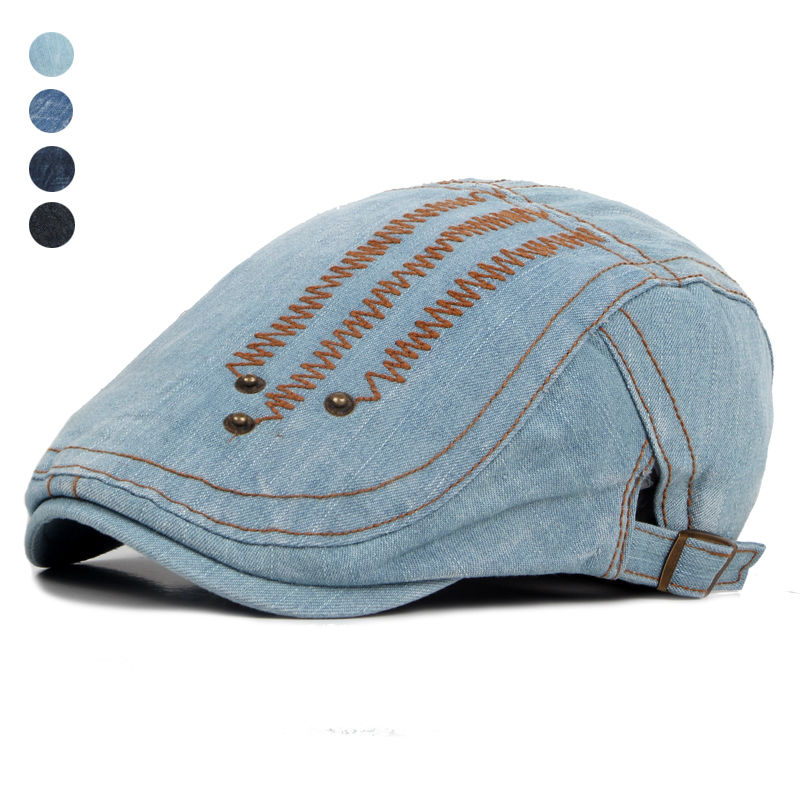 2016 New Fashion Gatsby Newsboy Jeans Cap Men Denim Hat Golf Driving Flat Cabbie Unisex Denim ...