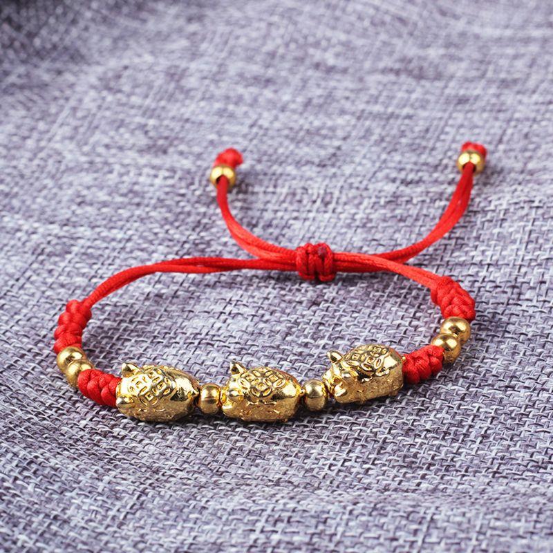 Fashion women Bracelets Girls Lucky Kabbalah Handmade Red String Braided Golden Pig Bracelets Fashion Jewelry in Charm Bracelets from Jewelry Accessories