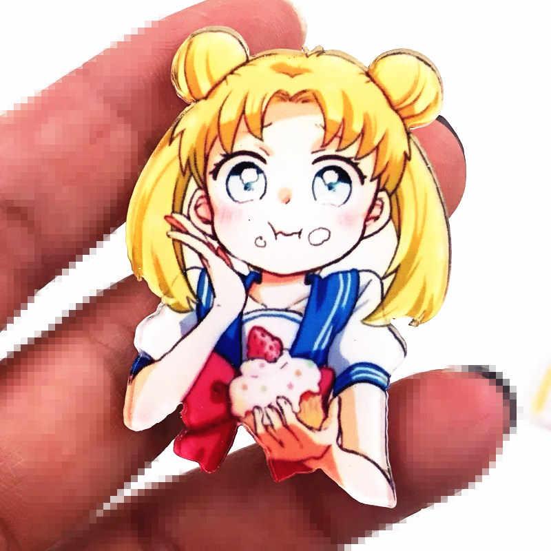1 Pcs Keren Cantik Sailor Moon Ikon Bros Kartun Acrylic Lencana Pin untuk Anak-anak Hadiah Ulang Tahun Dekorasi Tas Pakaian syal