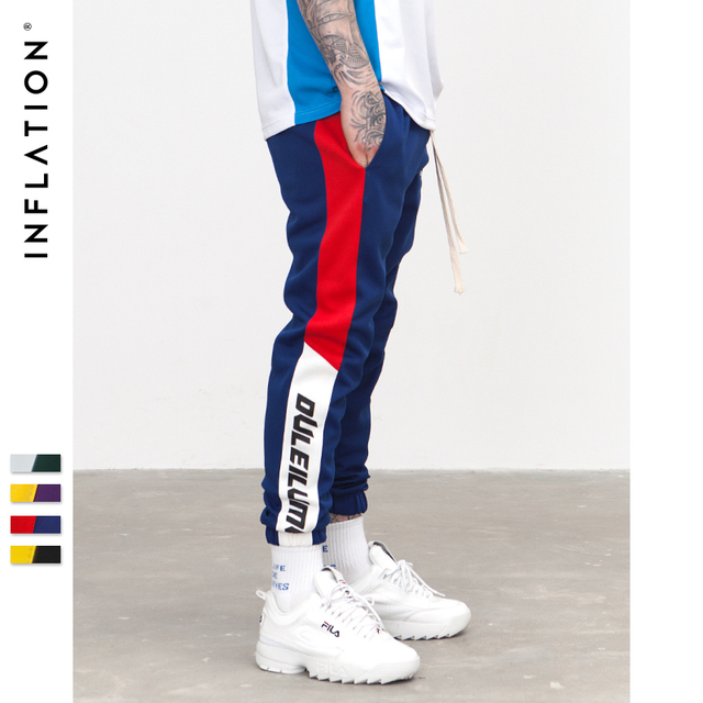 INFLATION 2019 New Autumn Mens Sweatswear Pants Printing Side Stripe Pockets Men Vintage Sweatpants 353W17