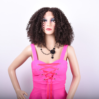 Ombre Brown Afro Kinky Curly Synthetic Lace Front Wigs For Black Women Cheap Soft 18inch African American Natural Wig