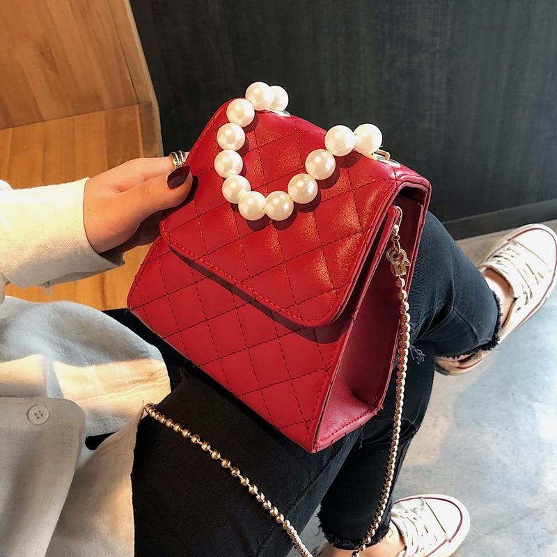 Luxury Brand Pearl Tote Bag 2019 Summer Fashion New Quality PU Leather Women's Designer Handbag Chain Shoulder Messenger Bags