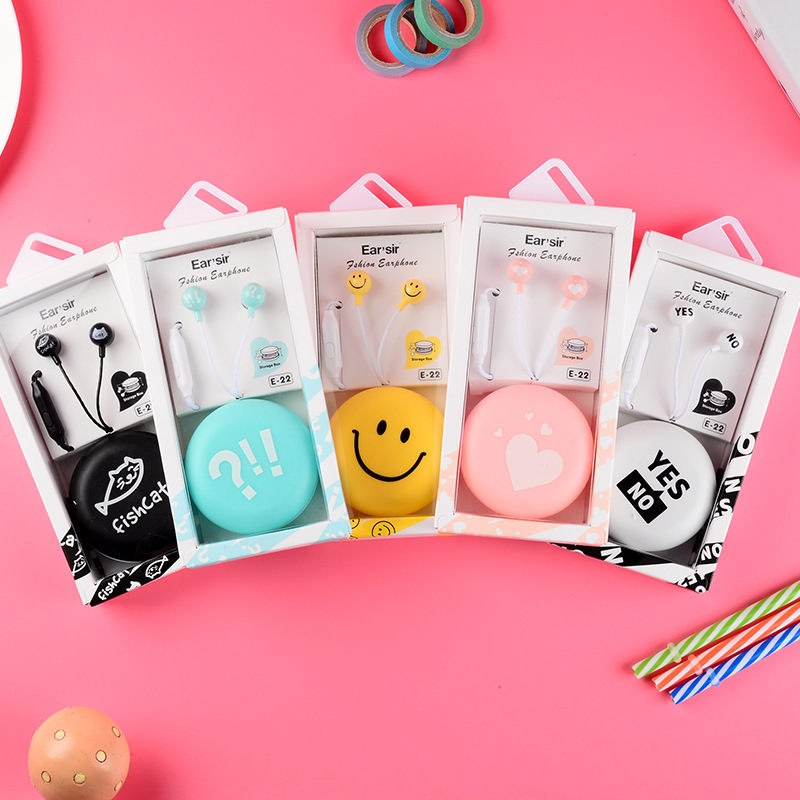 Cute Cartoon Smiley face Earphone 3.5mm in-ear Stereo with Mic Earphones Case for Phone Girls Kid Child Student for MP3 MP4 Gift
