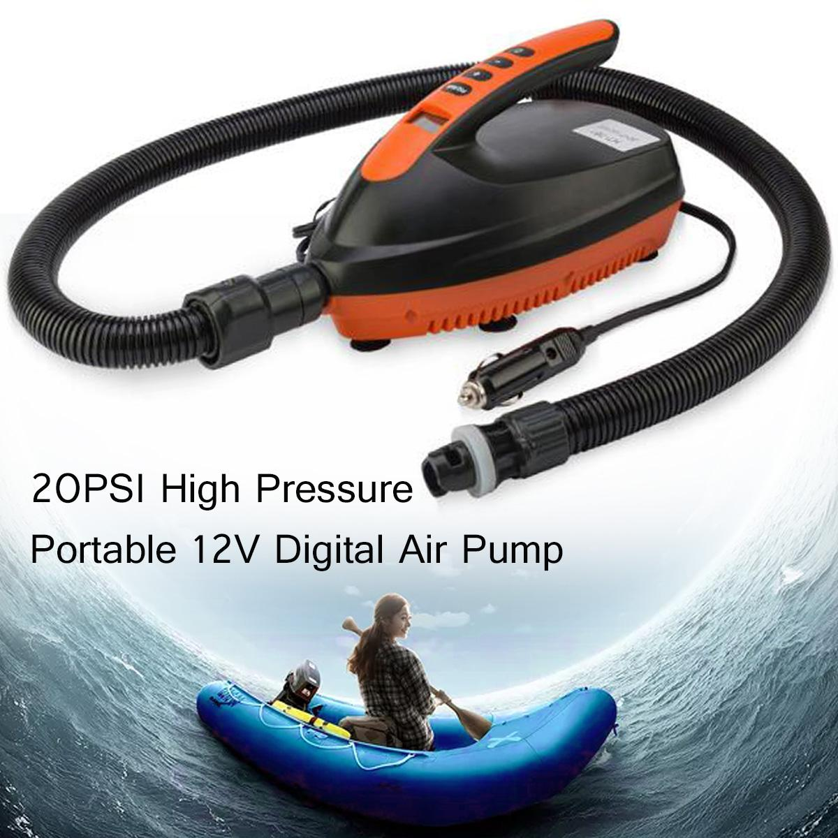 12V 16PSI Portable Car Inflatable Pump High Pressure Portable Digital  Electric Air Pump With 6 Nozzles for SUP Kayak Paddle Boar