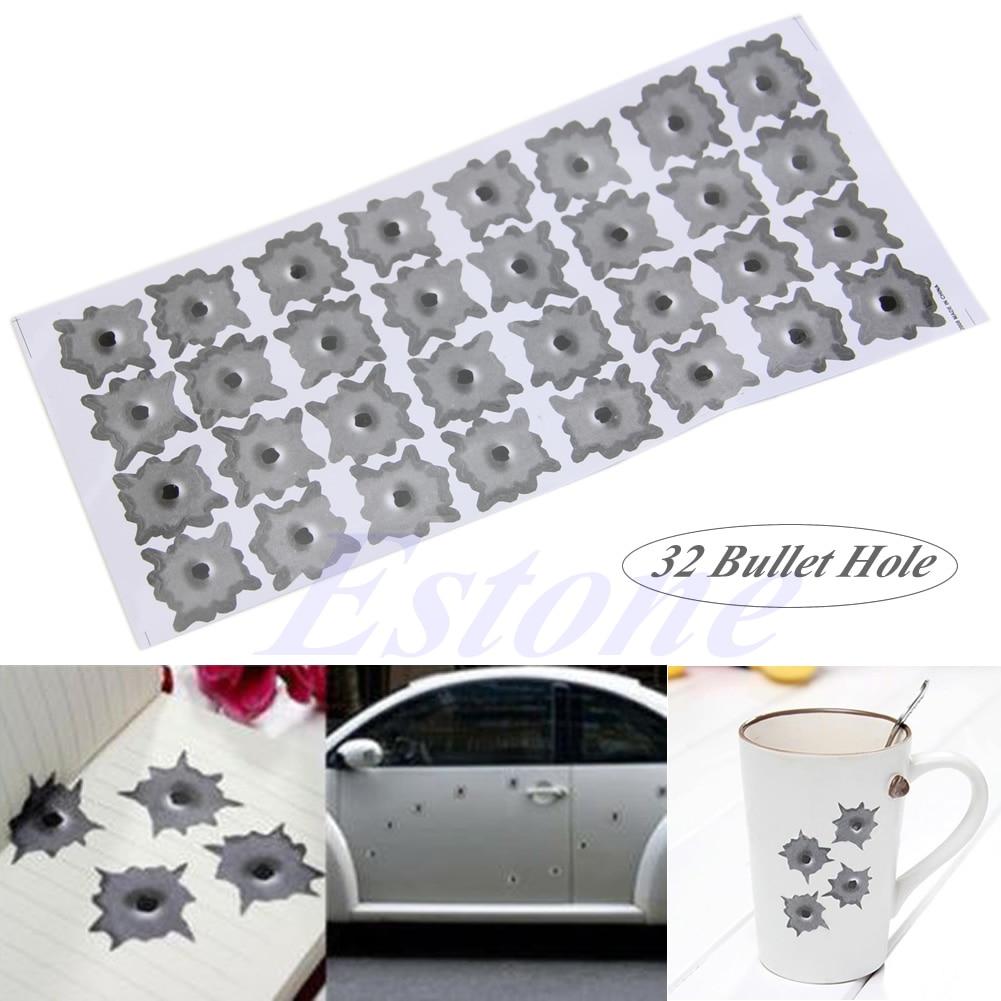 Lot 32 Bullet Hole Car Helmet Motobike Sticker Decals Cars Decoration