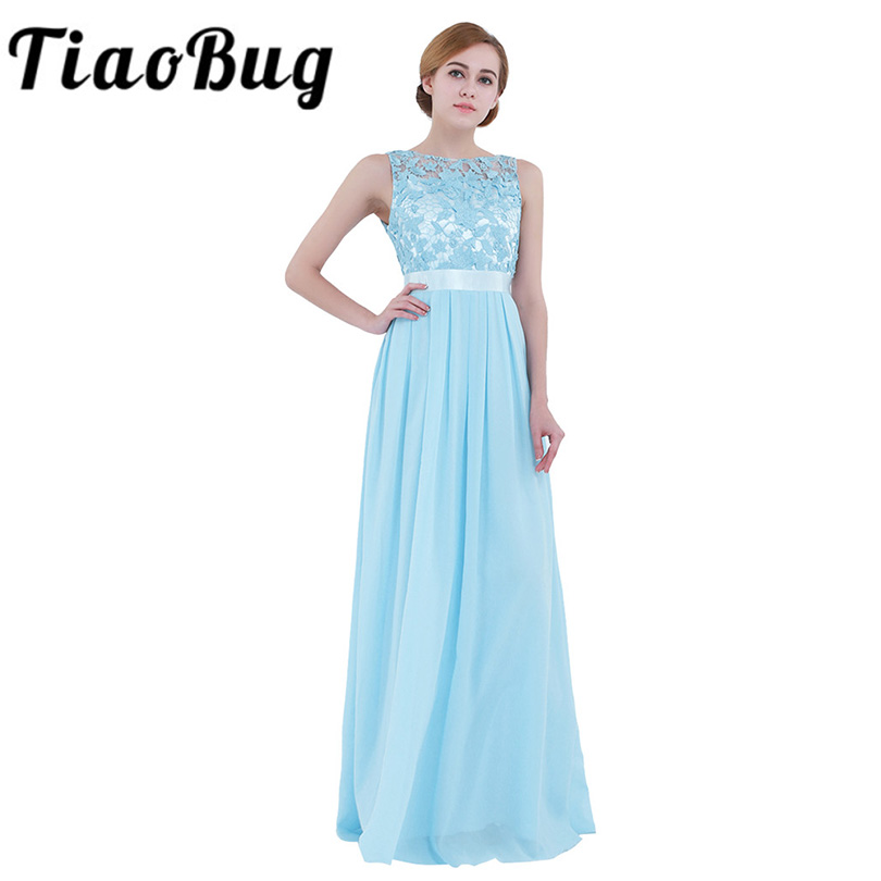 TiaoBug Women Ladies Sleeveless Lace Embroidered Chiffon Bridesmaid Dress Long Party Pageant Wedding Bridal Formal Summer Dress(China)
