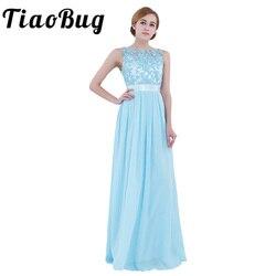 TiaoBug mujeres damas sin mangas de encaje bordado de gasa vestido de dama de honor largo fiesta concurso de belleza boda de novias Formal vestido de verano