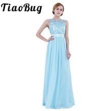 TiaoBug, vestido de dama de honor de gasa sin mangas con encaje bordado, Vestido largo de fiesta, concurso de belleza, boda de novias, vestido Formal de verano