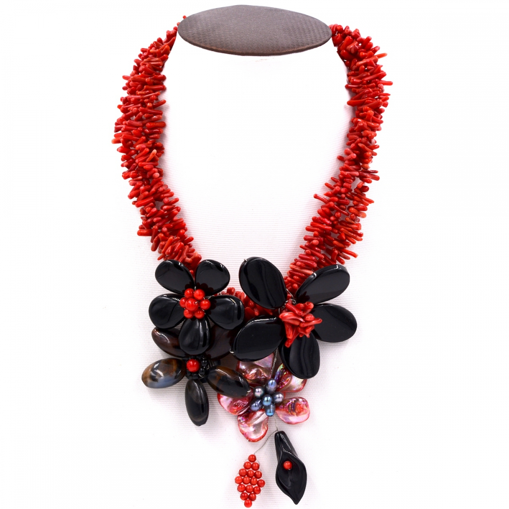 2017 Europe 2017 New Arrival Red coral and black onyx flower chokers necklace Jewelry Women Gift Party 2017 lady women gray pearl black abalone shell black onyx crystal flower necklace for women fashion jewelry party gift