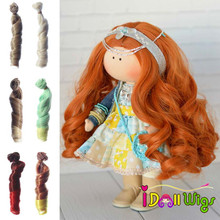 15cm Curly Doll Wigs White Khaki Brown Pink Orange Heat Resistant Hair Piece DIY 1/3 1/4 1/6 BJD