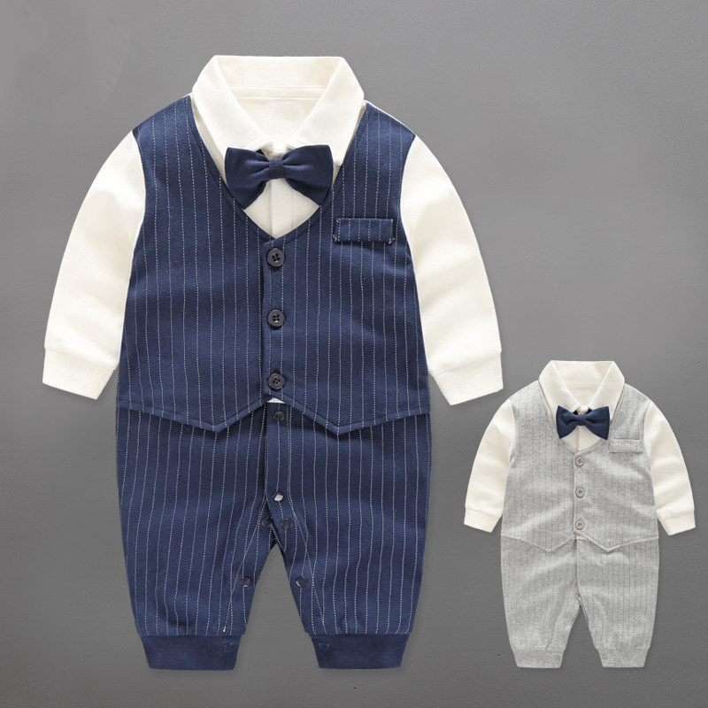 Baby Boy Rompers Cotton Bow Tie Gentleman Party Clothing Spring Toddler Prince Costume Infant Jumpsuits Newborn Boys Clothes top and top summer toddler boy clothes gentleman boy clothing set bow tie romper top straps shorts boys wedding party clothes