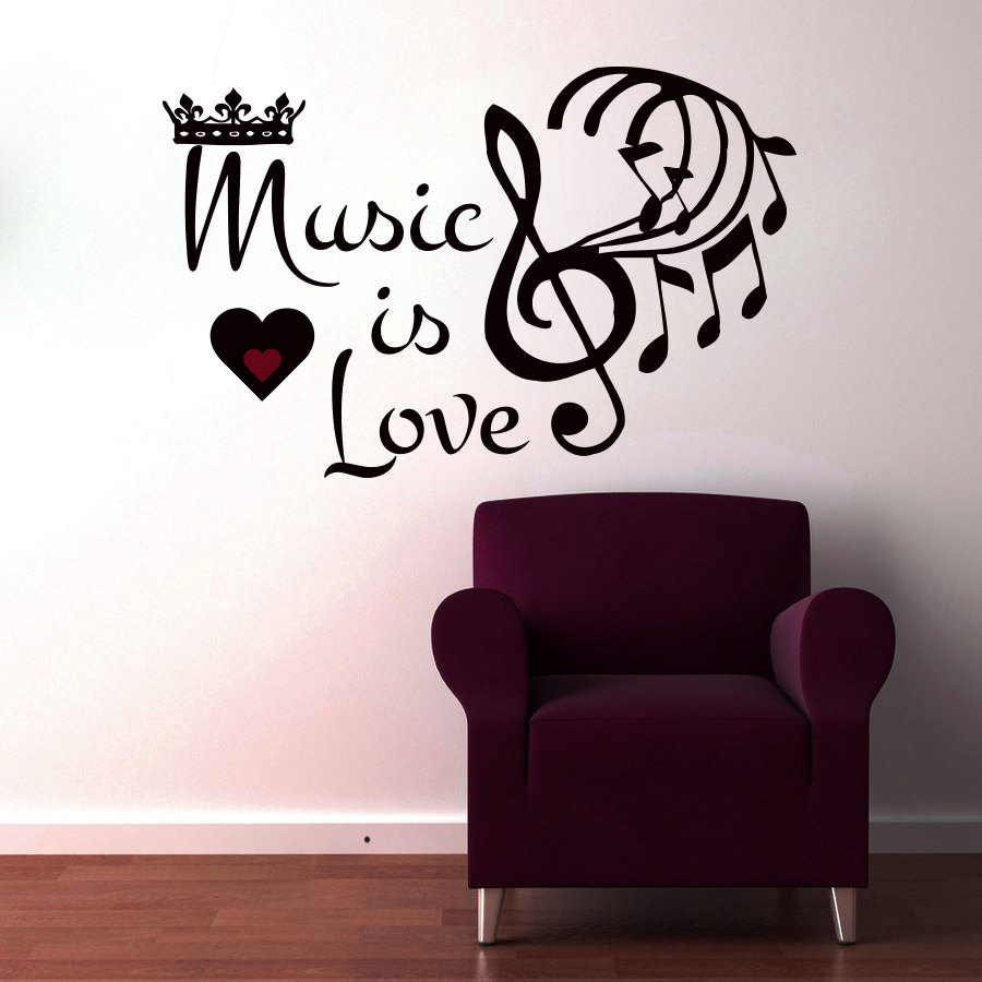 Mm66 music is love crown musical notes wall sticker living room mm66 music is love crown musical notes wall sticker living room removable art home decor wall decals in wall stickers from home garden on aliexpress amipublicfo Gallery
