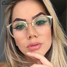 c307695dc9 Vintage Spectacle Frames Women Oversized Clear Lens Fake Glasses Myopia Eyeglasses  Transparent Optical Glasses Frame Oculos