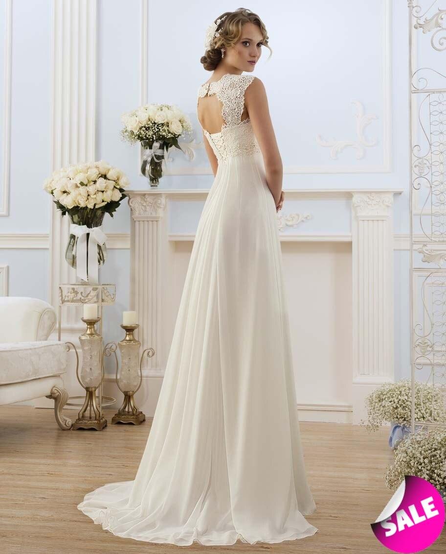 Simple Chiffon V-neck Lace Up Vestidos De Noiva Pleats Beach A-line Long Beach Wedding Dresses Robe De Marriage Bridal Gowns