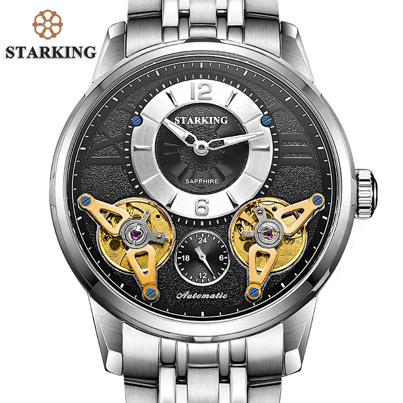 STARKING 2017 Europe Fashion Automatic Watch Double Tourbillon Skeleton Watch Men Top Brand Luxury Stainless Steel Wristwatches