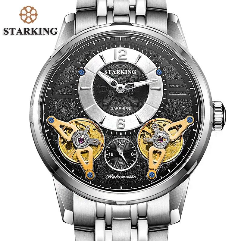 STARKING 2017 Europe mode montre automatique Double Tourbillon squelette montre hommes Top marque de luxe en acier inoxydable montres