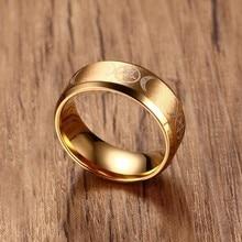Ring for Men Stainless Steel Crescent Moon and Pentagram