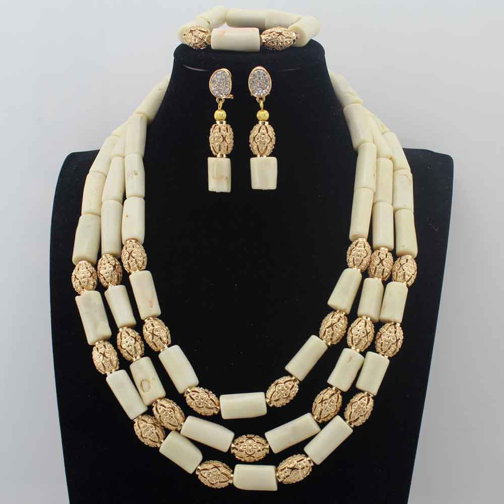 White Coral African Beads Jewelry Set Nigerian Wedding beads jewelry Set Indian Costume Bridal beaded necklace sets W13923 цена